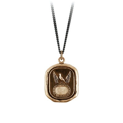 Pyrrha Protection Engravable Talisman Necklace Fine Curb Chain Bronze