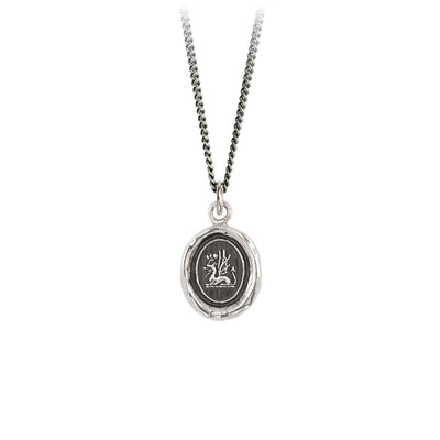 Pyrrha Protection Talisman Necklace Fine Curb Chain Silver