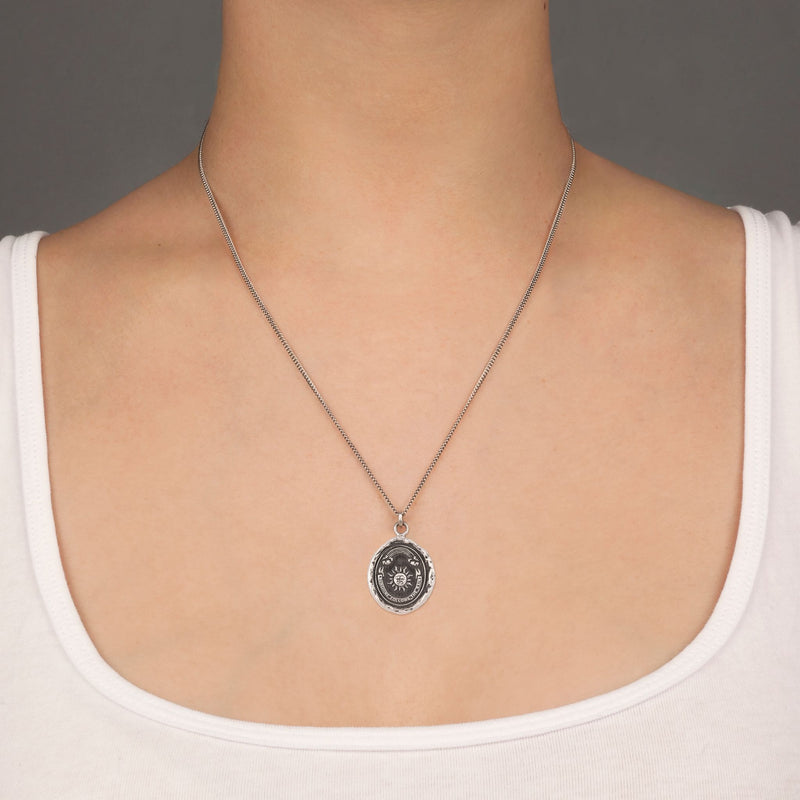 Pyrrha Rainbow Talisman Necklace Fine  Curb Chain Silver