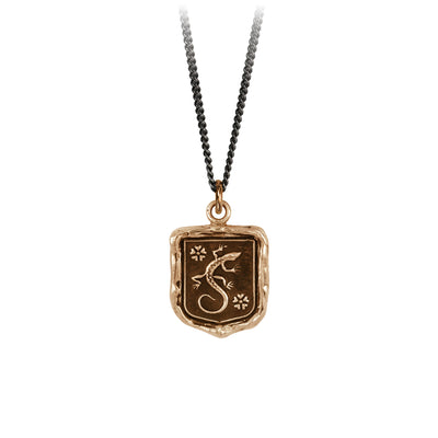 Pyrrha Recovery Talisman Necklace Fine Curb Chain Bronze