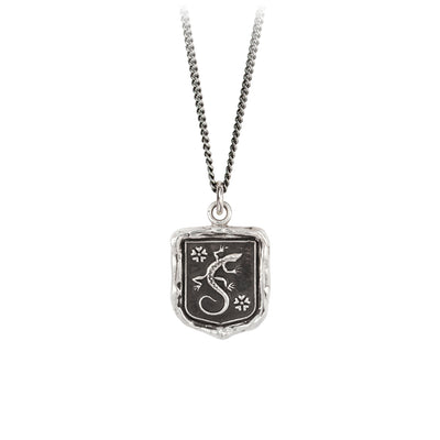 Pyrrha Recovery Talisman Necklace Fine Curb Chain Silver