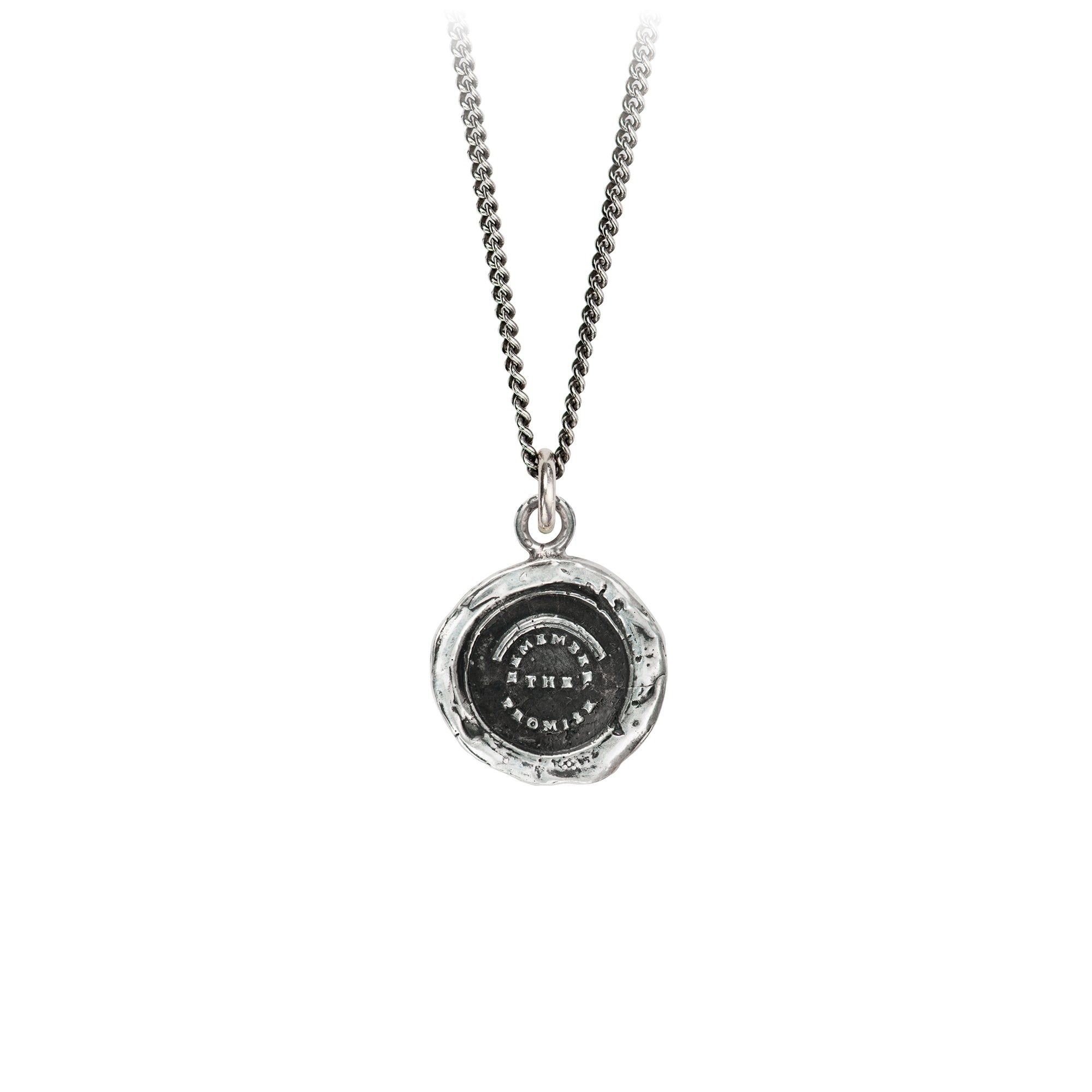 Pyrrha Remember The Promise Talisman Necklace Fine Curb Chain Silver