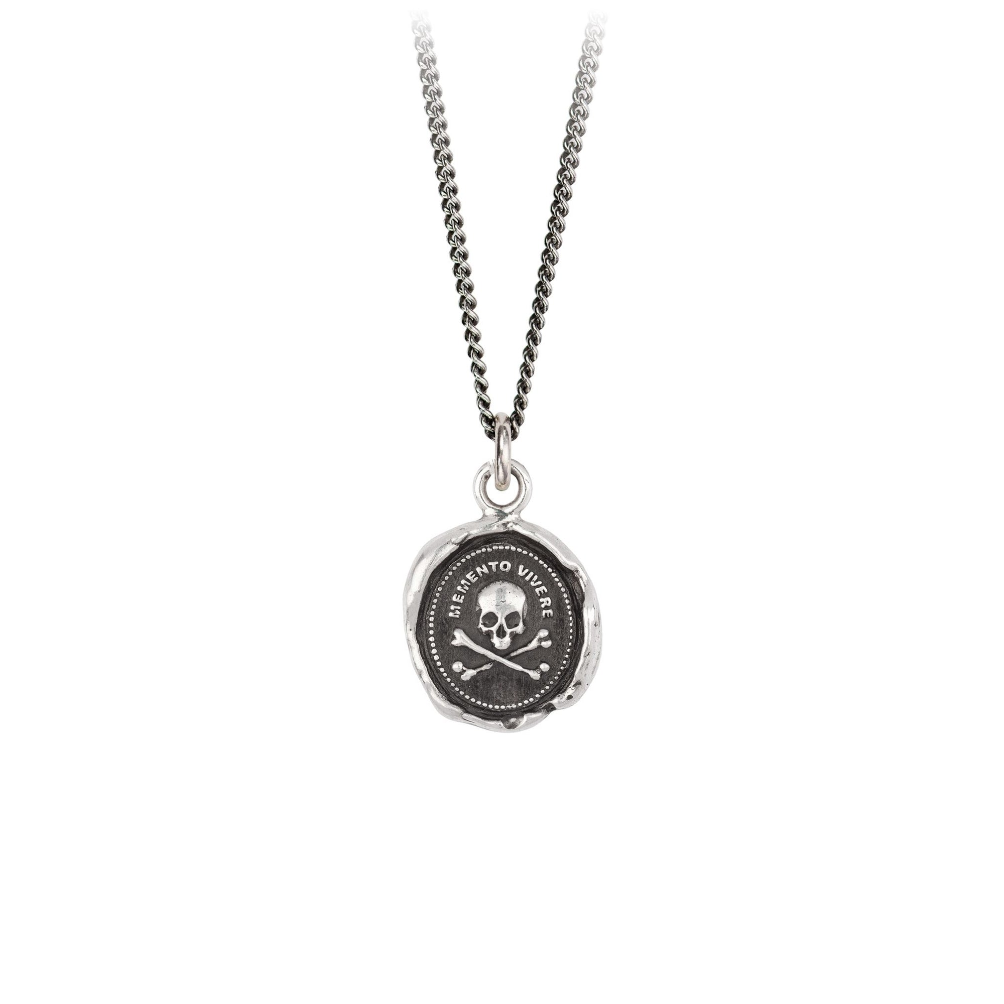 Pyrrha Remember to Live Talisman Necklace Fine Curb Chain Silver
