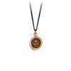 A silver chain necklace with our bronze Rose talisman.