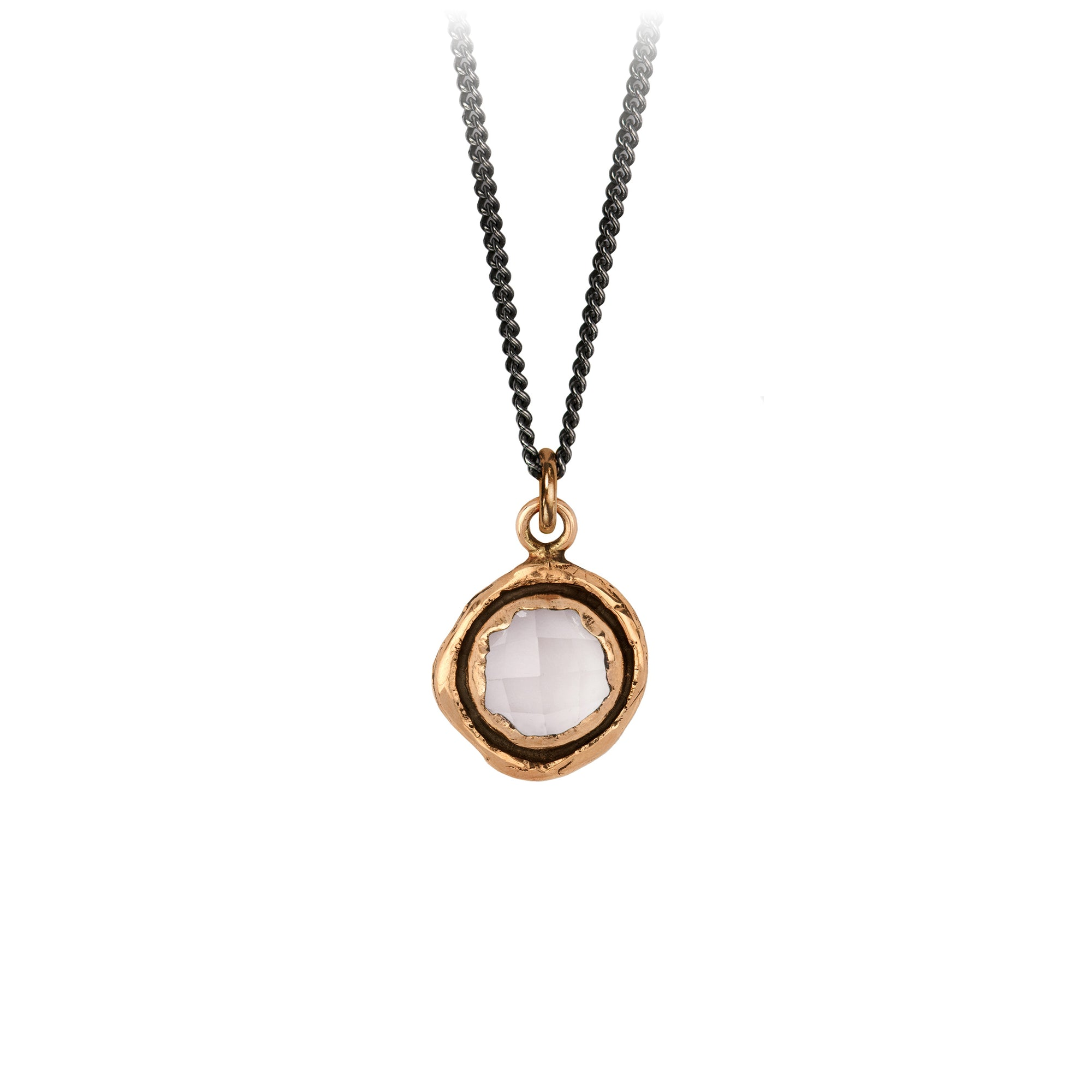 Pyrrha Rose Quartz Faceted Stone Talisman Necklace Bronze