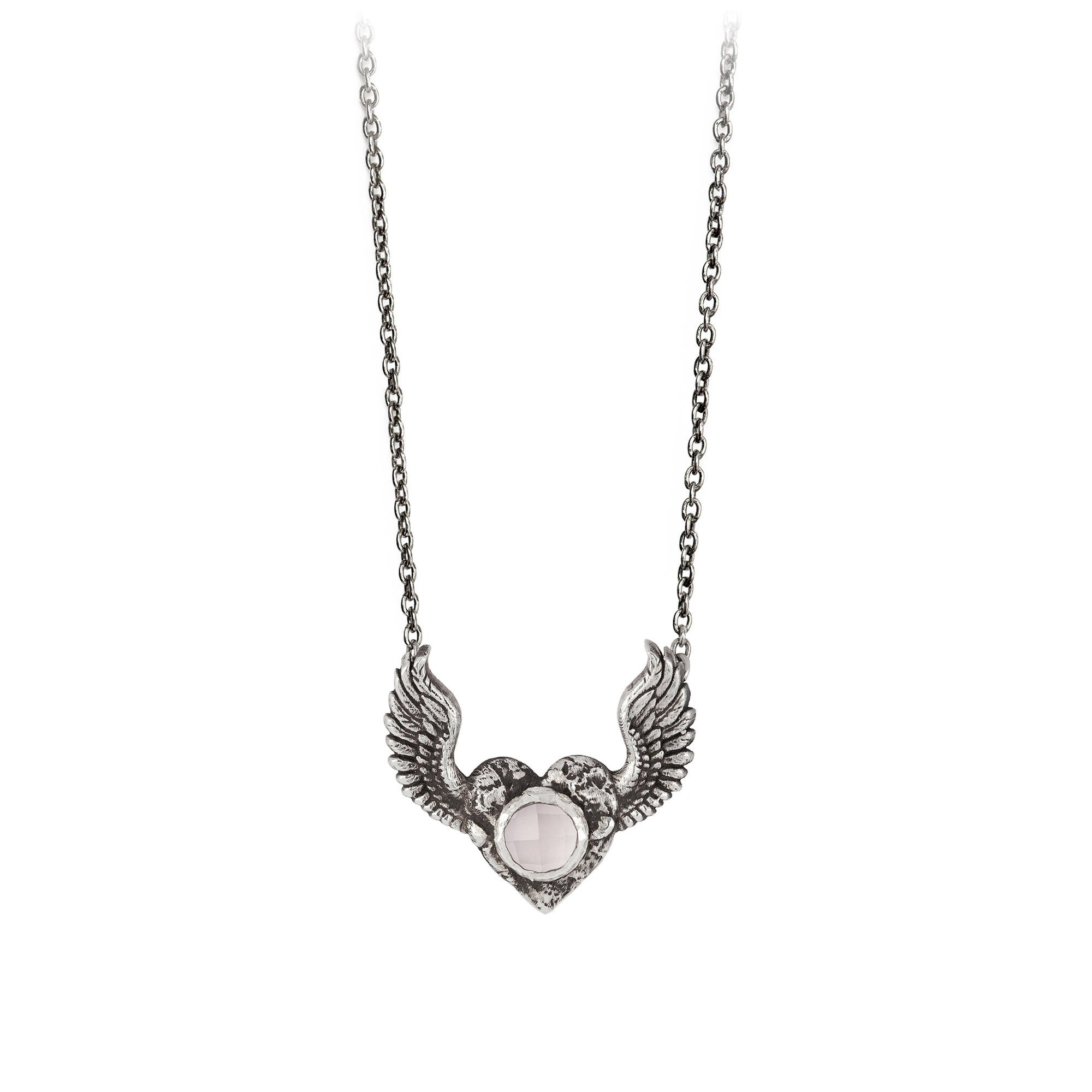 Pyrrha Heart with Wings Rose Quartz Faceted Stone Talisman Silver