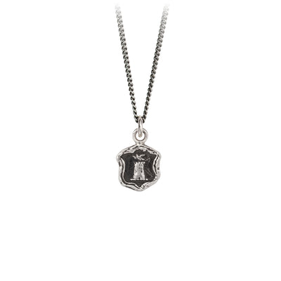 Pyrrha Safe Haven Talisman Necklace Fine Curb Chain Silver