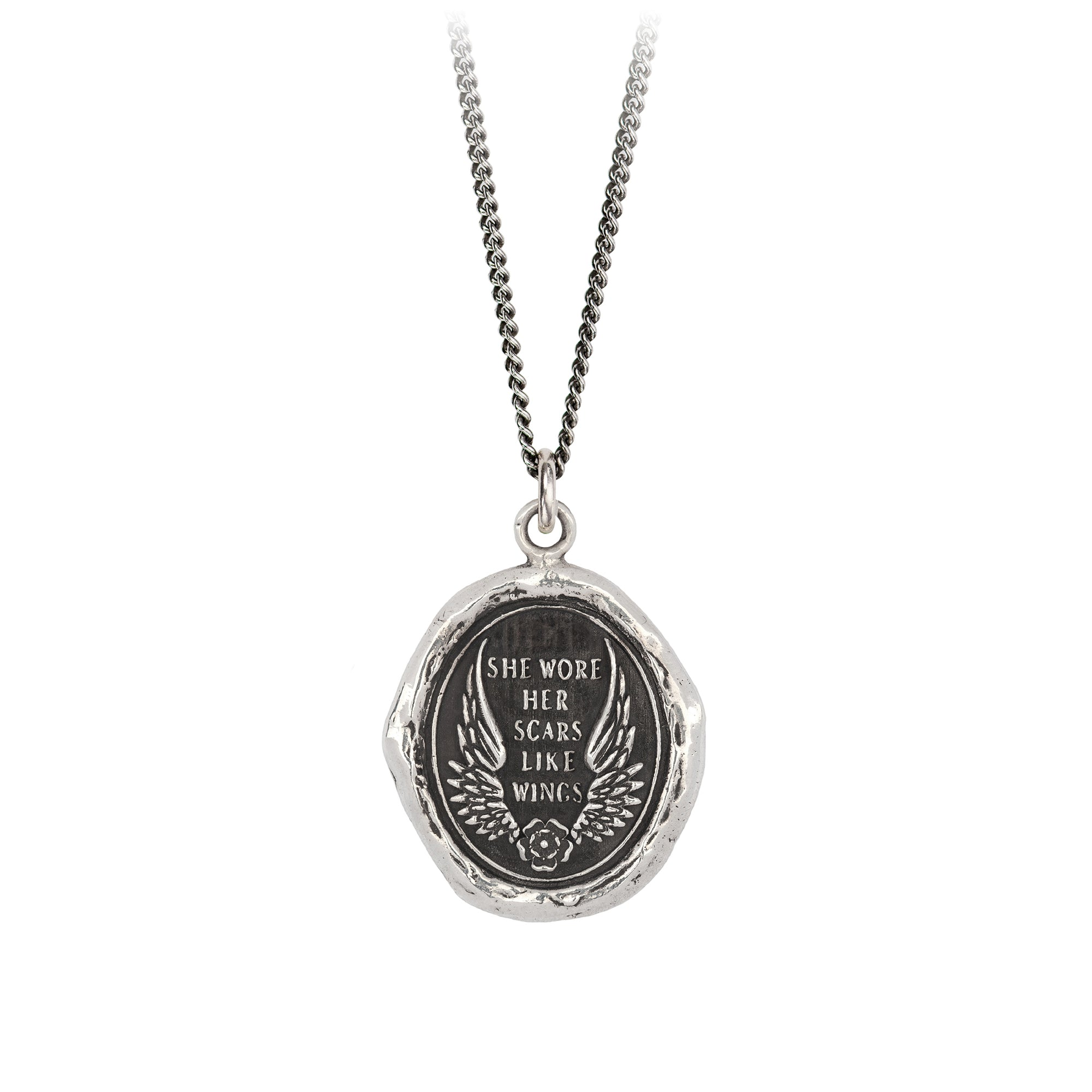 Pyrrha She Wore Her Scars Like Wings Atticus Talisman Necklace Silver