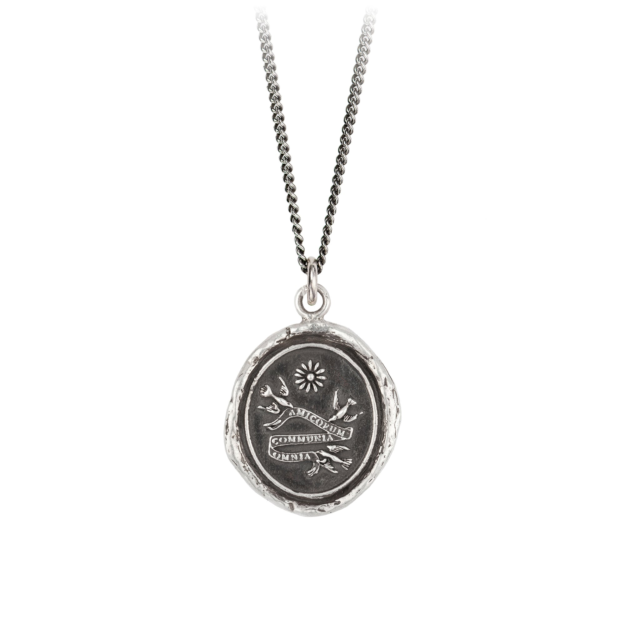 Pyrrha Sisterhood Talisman Necklace Fine Curb Chain Silver