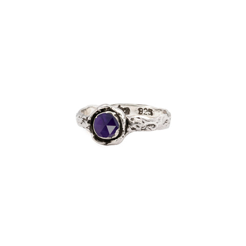 Amethyst Small Faceted Stone Talisman Ring