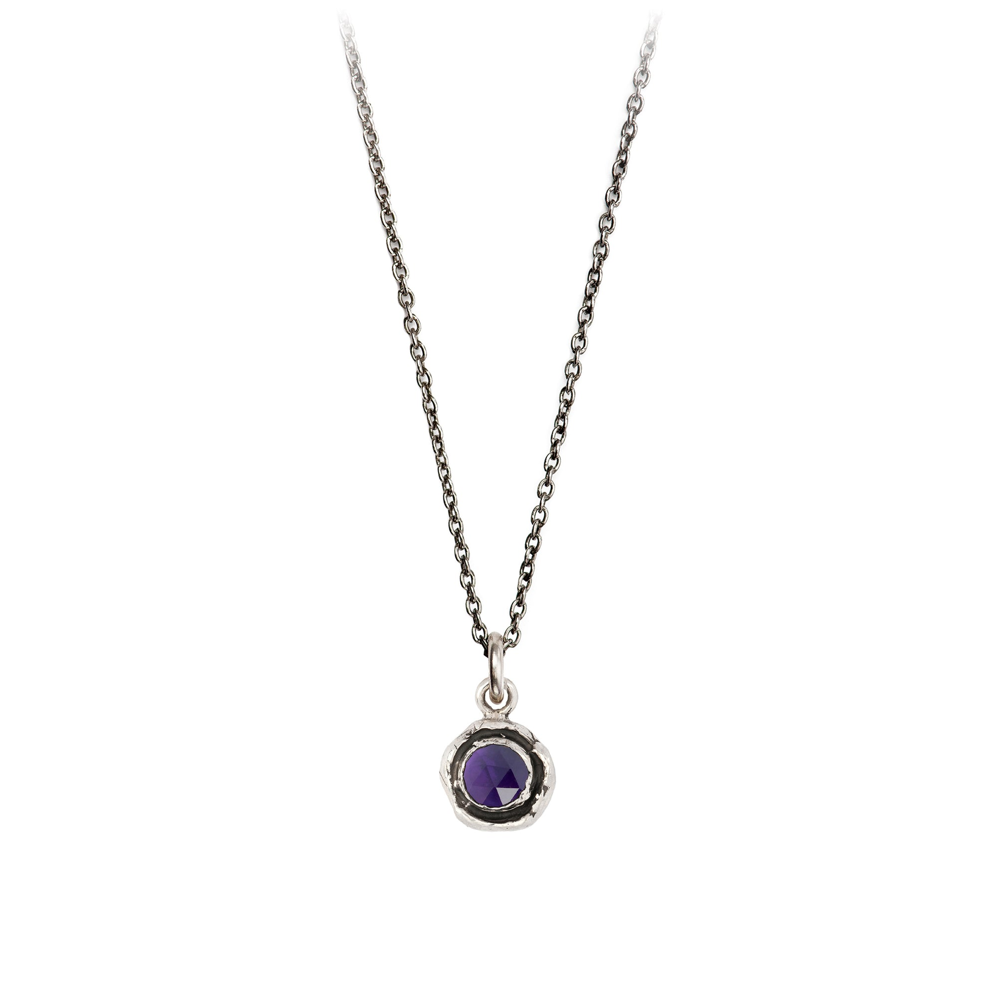 Pyrrha  Small Amethyst Faceted Stone Talisman Necklace Silver