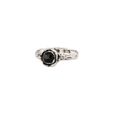 Black Onyx Small Faceted Stone Talisman Ring