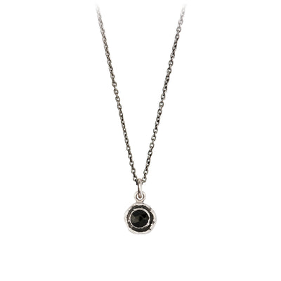 Pyrrha  Small Black Onyx Faceted Stone Talisman Necklace Silver