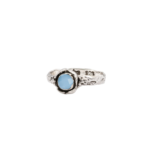 Chalcedony Small Faceted Stone Talisman Ring