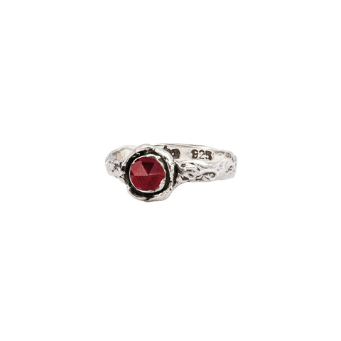 Garnet Small Faceted Stone Talisman Ring