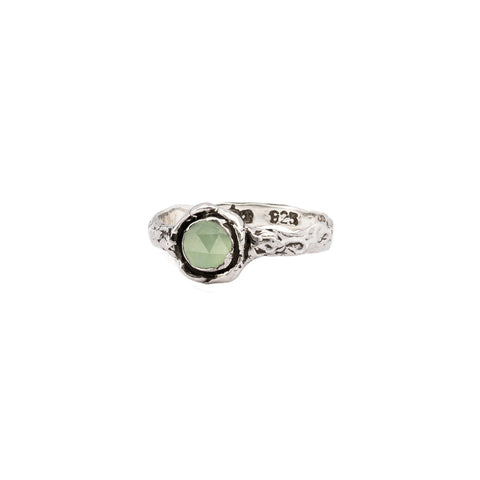 Prehnite Small Faceted Stone Talisman Ring