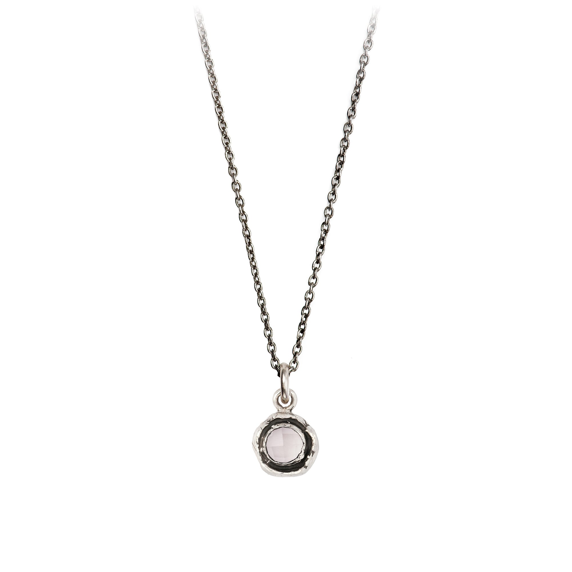 Pyrrha  Small Rose  Quartz Faceted Stone Talisman Necklace Silver