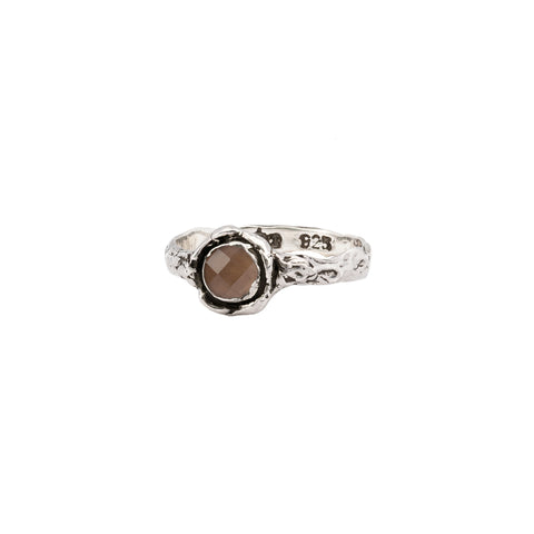 Smoky Quartz Small Faceted Stone Talisman Ring
