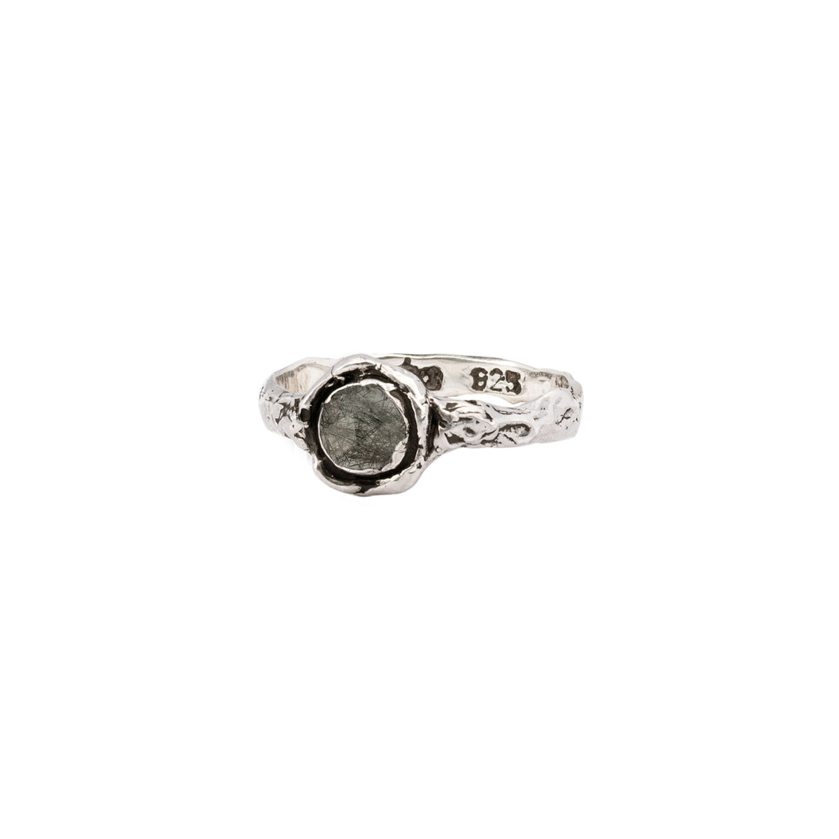 Tourmalated Quartz Small Faceted Stone Talisman Ring