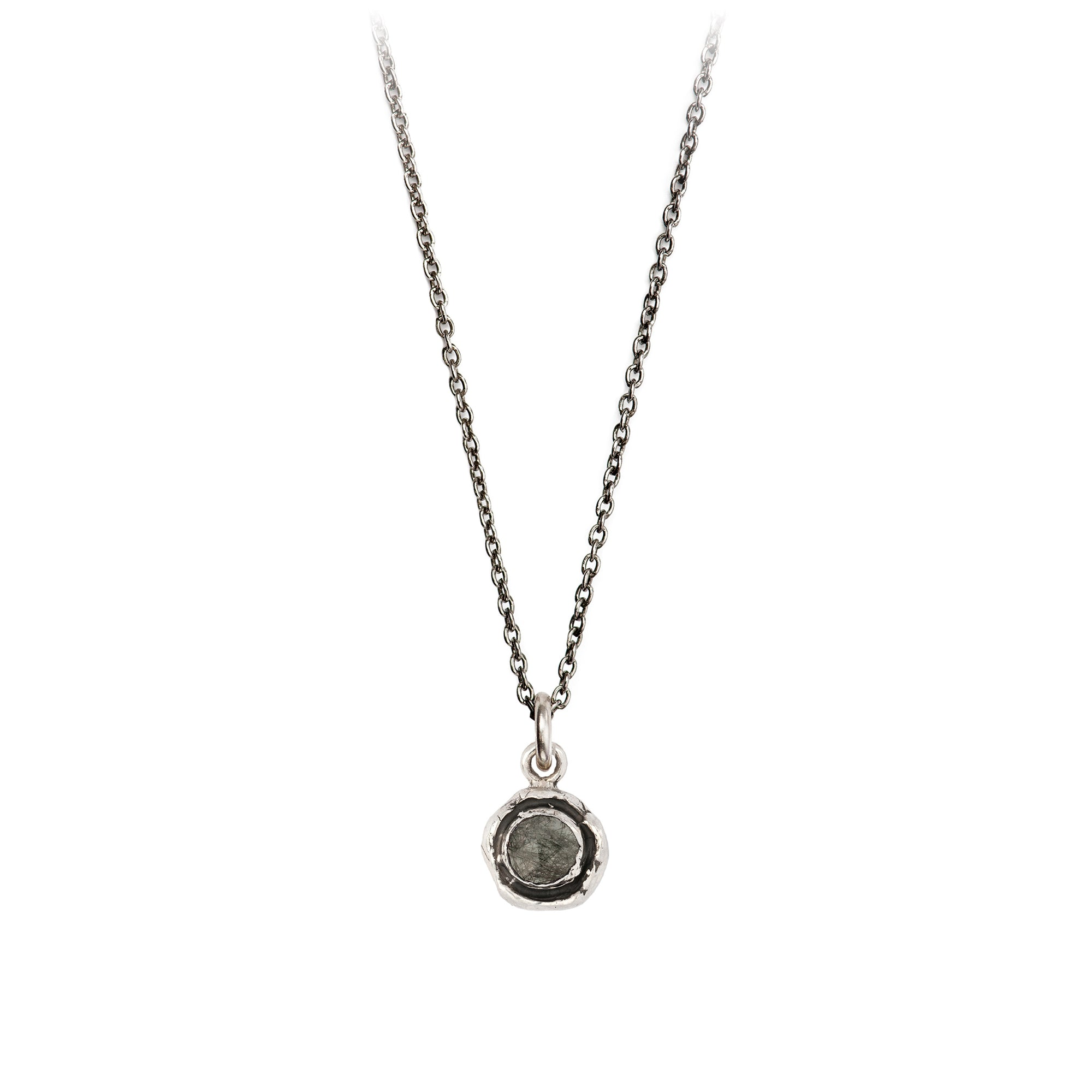 Pyrrha Small Tourmalated Quartz Faceted Stone Talisman Necklace Silver
