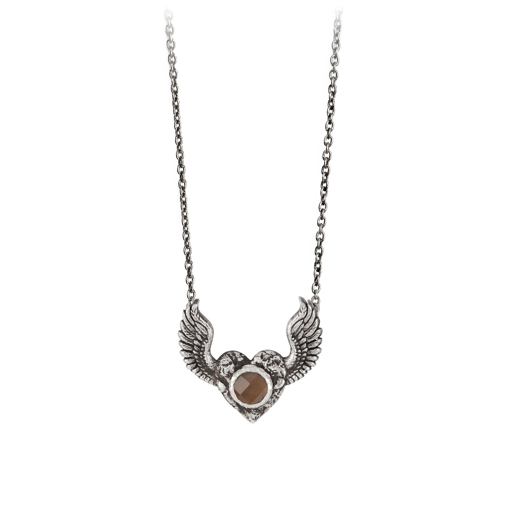 Pyrrha Heart with Wings Smoky Quartz Faceted Stone Talisman Silver