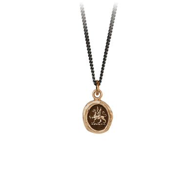 Pyrrha Spirit Talisman Necklace Fine Curb Chain Bronze