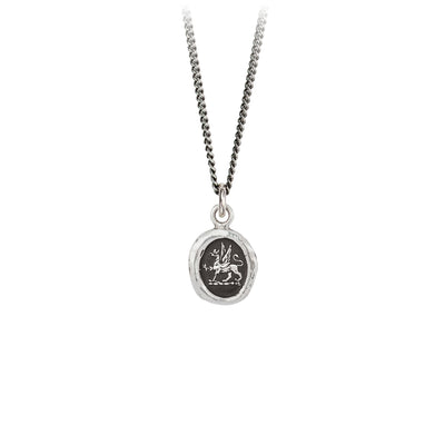 Pyrrha Spirit Talisman Necklace Fine Curb Chain Silver
