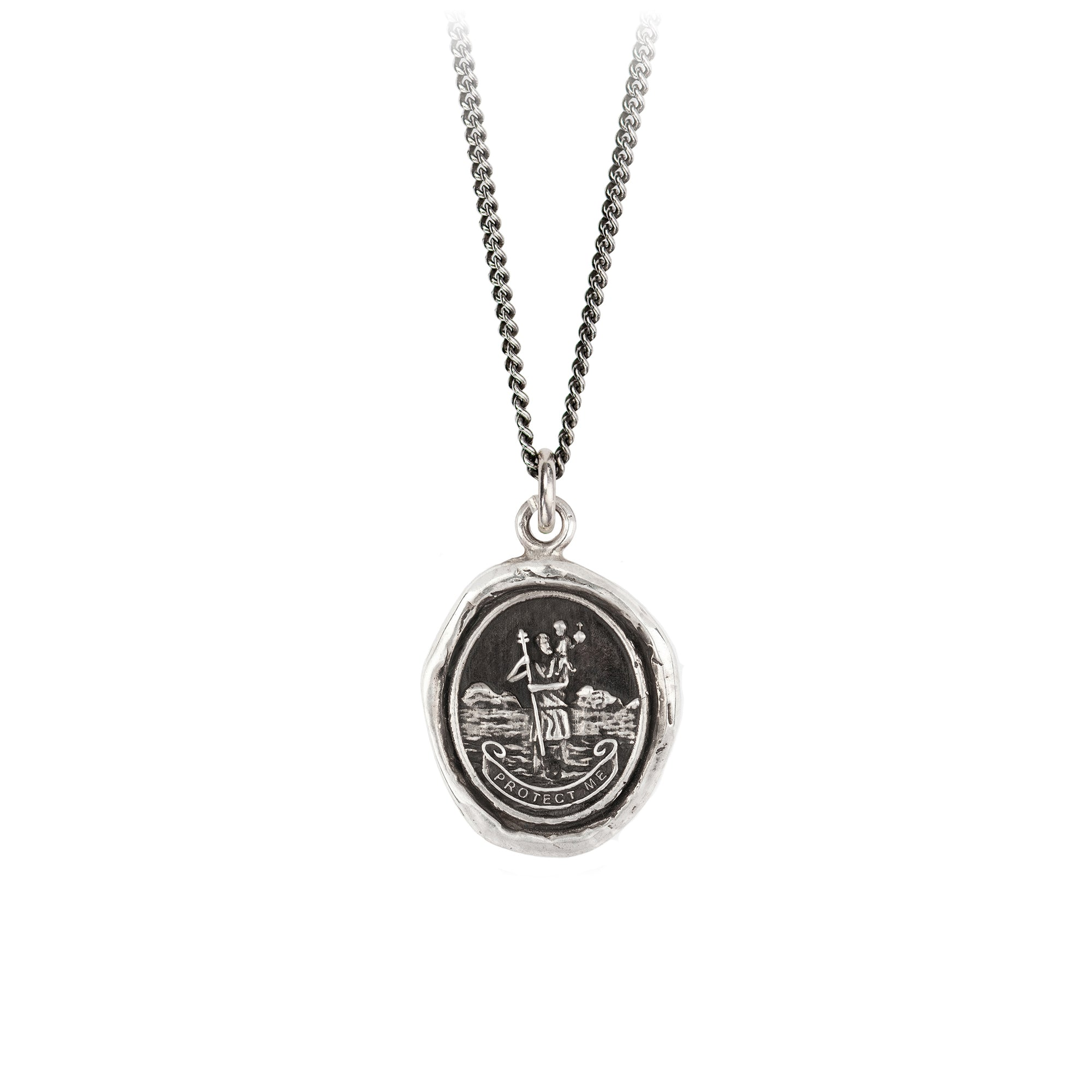 Pyrrha St Christopher Talisman Necklace Silver