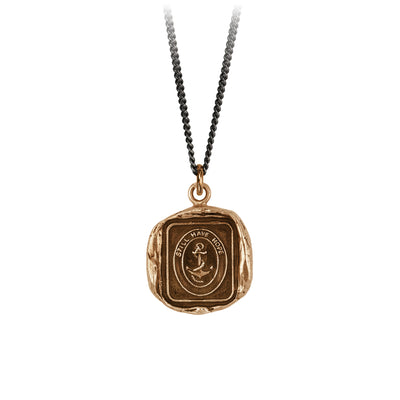 Pyrrha Still Have Hope Talisman Necklace Fine Curb Chain Bronze