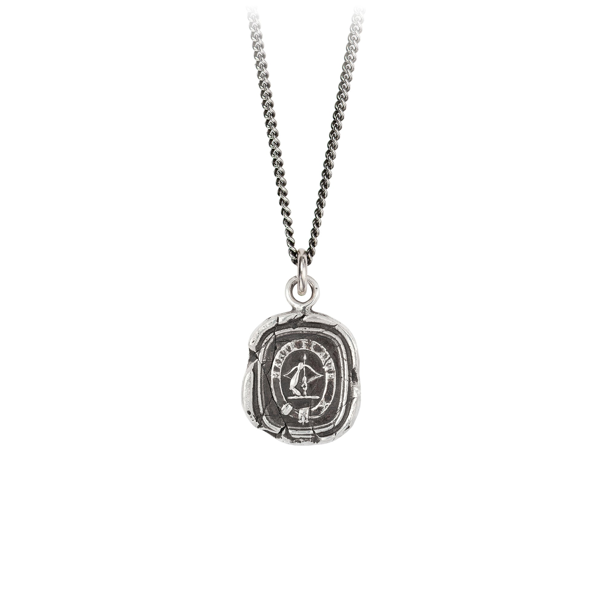 Pyrrha Strength and Skill Talisman Necklace Fine Curb Chain Silver