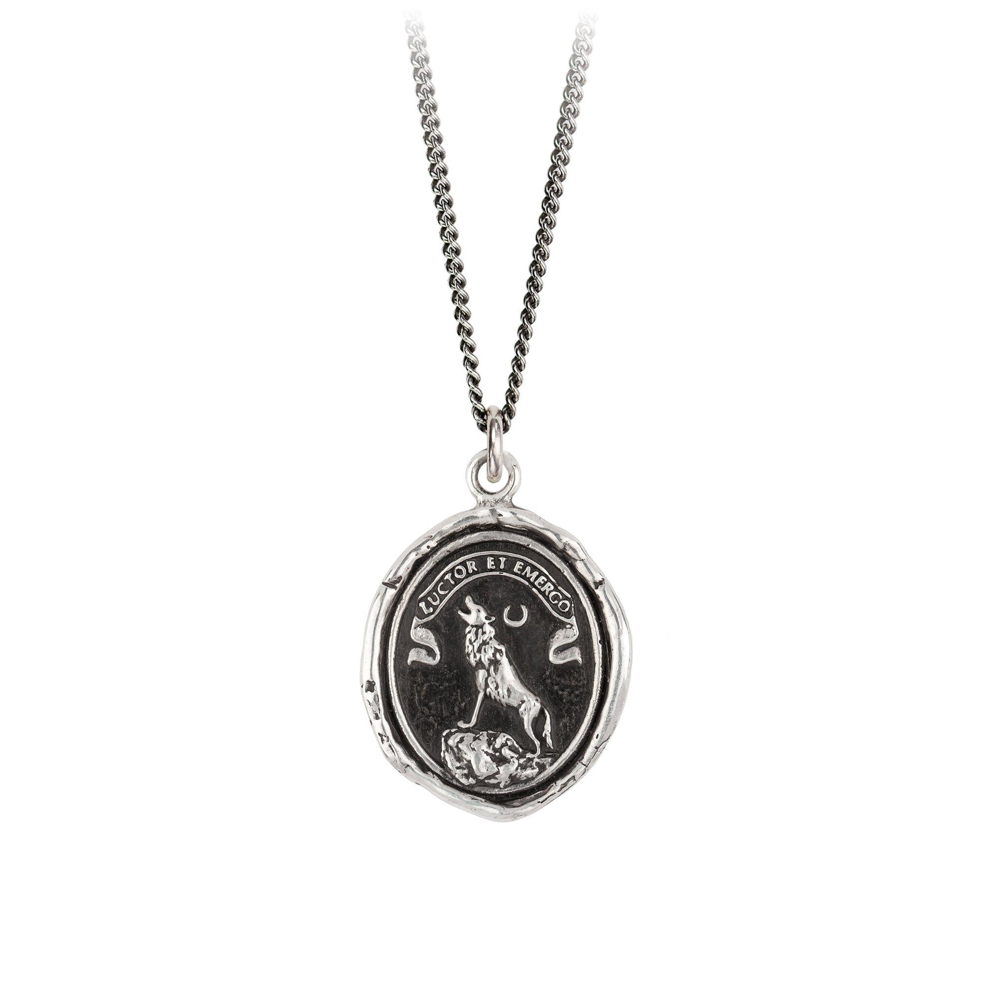 Pyrrha Struggle and Emerge Talisman Necklace Silver