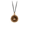 Pyrrha Swan Talisman Necklace Fine Curb Chain Bronze