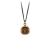 Pyrrha Think Of me Talisman Necklace Fine Curb Chain Bronze