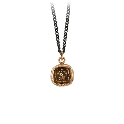 Pyrrha Think Of me Talisman Necklace Medium Curb Chain Bronze