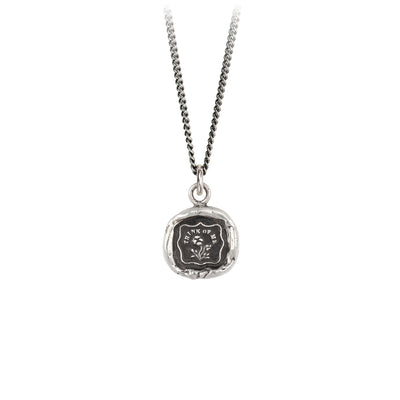 Pyrrha Think Of me Talisman Necklace Fine Curb Chain Silver