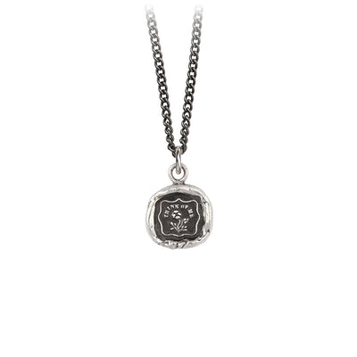 Pyrrha Think Of me Talisman Necklace Medium Curb Chain Silver