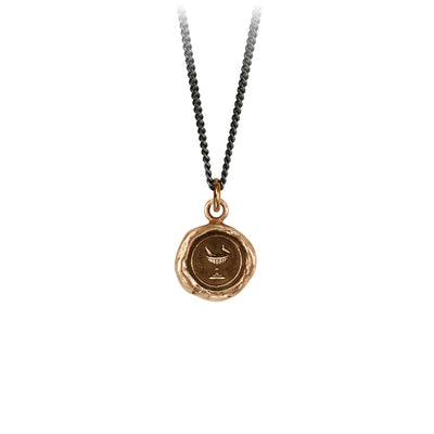 Pyrrha Togetherness Talisman Necklace Fine Curb Chain Bronze