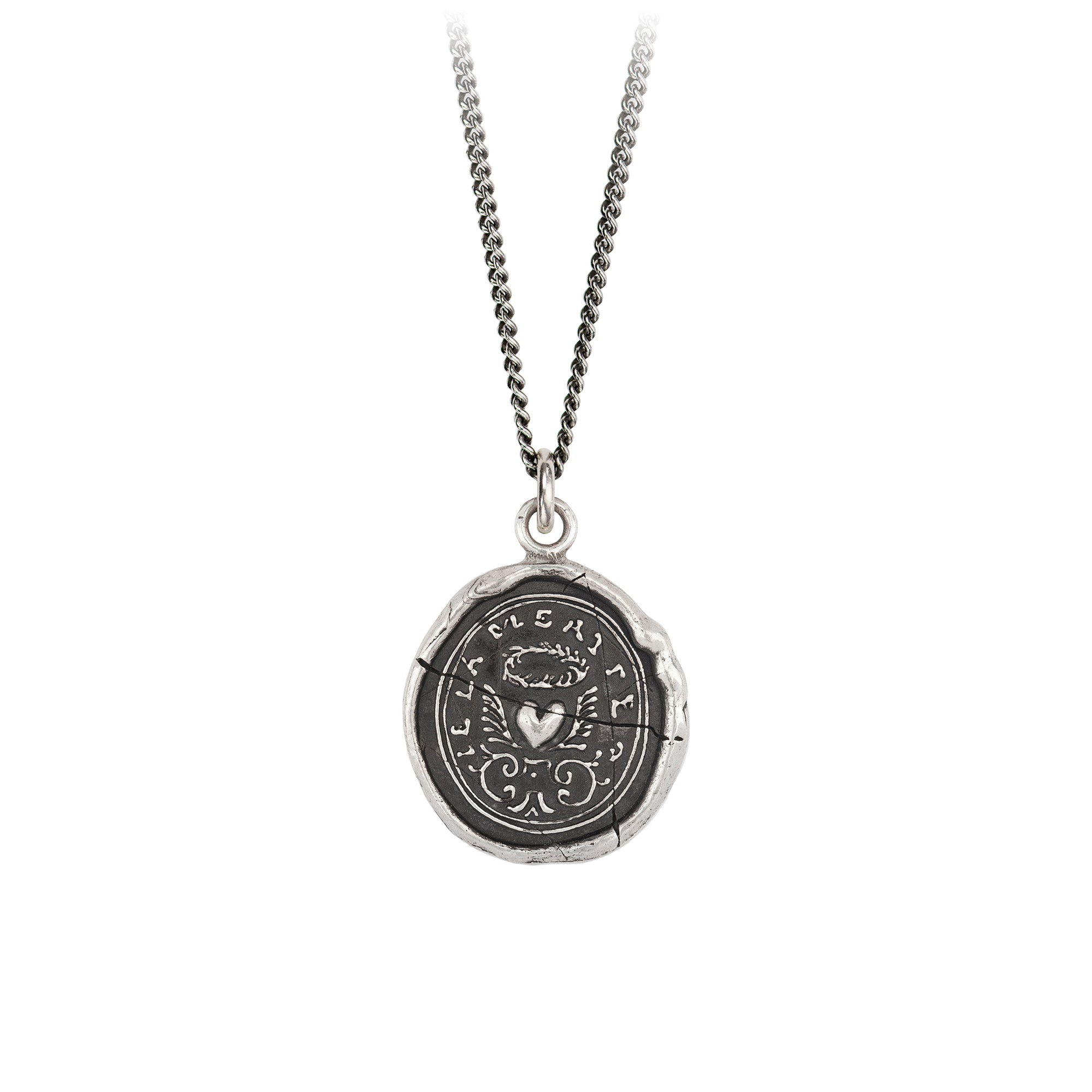 Pyrrha True Self Talisman Necklace Fine Curb Chain Silver