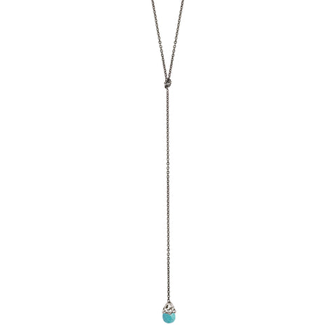 Turquoise Capped Stone Lariat Necklace
