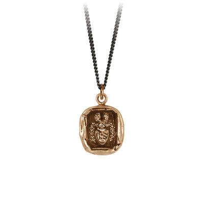 Pyrrha Warrior Talisman Necklace Fine Curb Chain Bronze