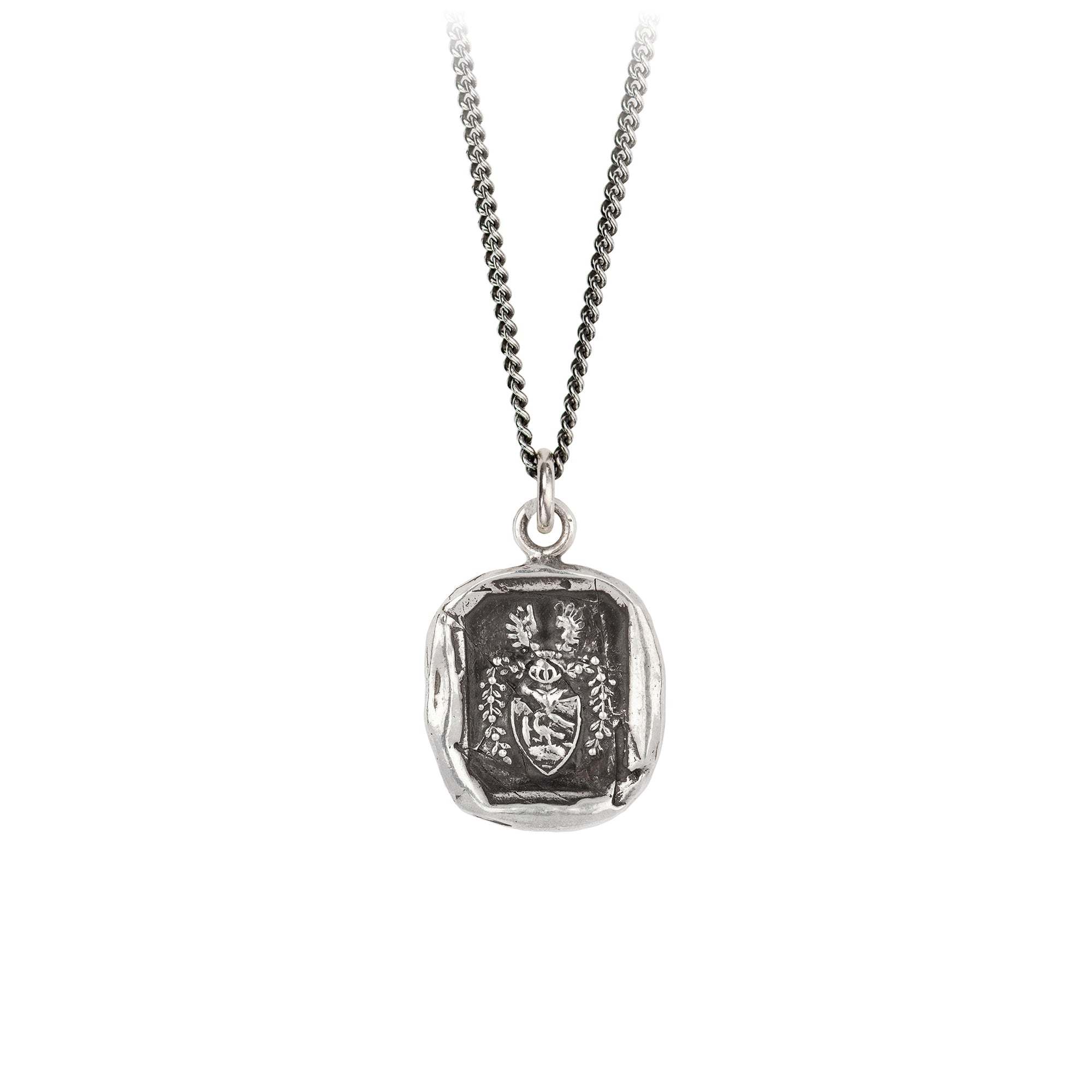 Pyrrha Warrior Talisman Necklace Fine Curb Chain Silver
