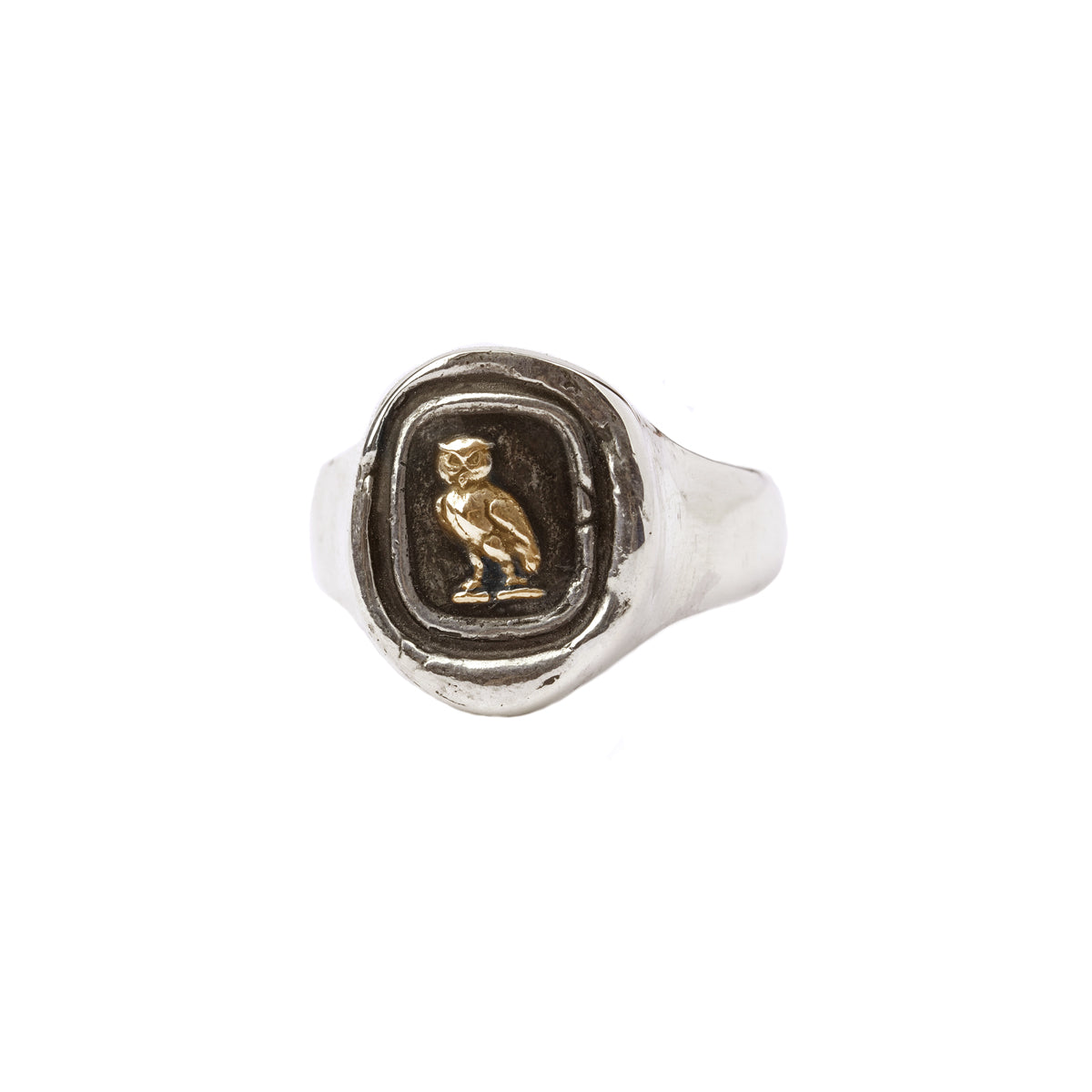 Watch Over Me 14K Gold On Silver Signet Ring