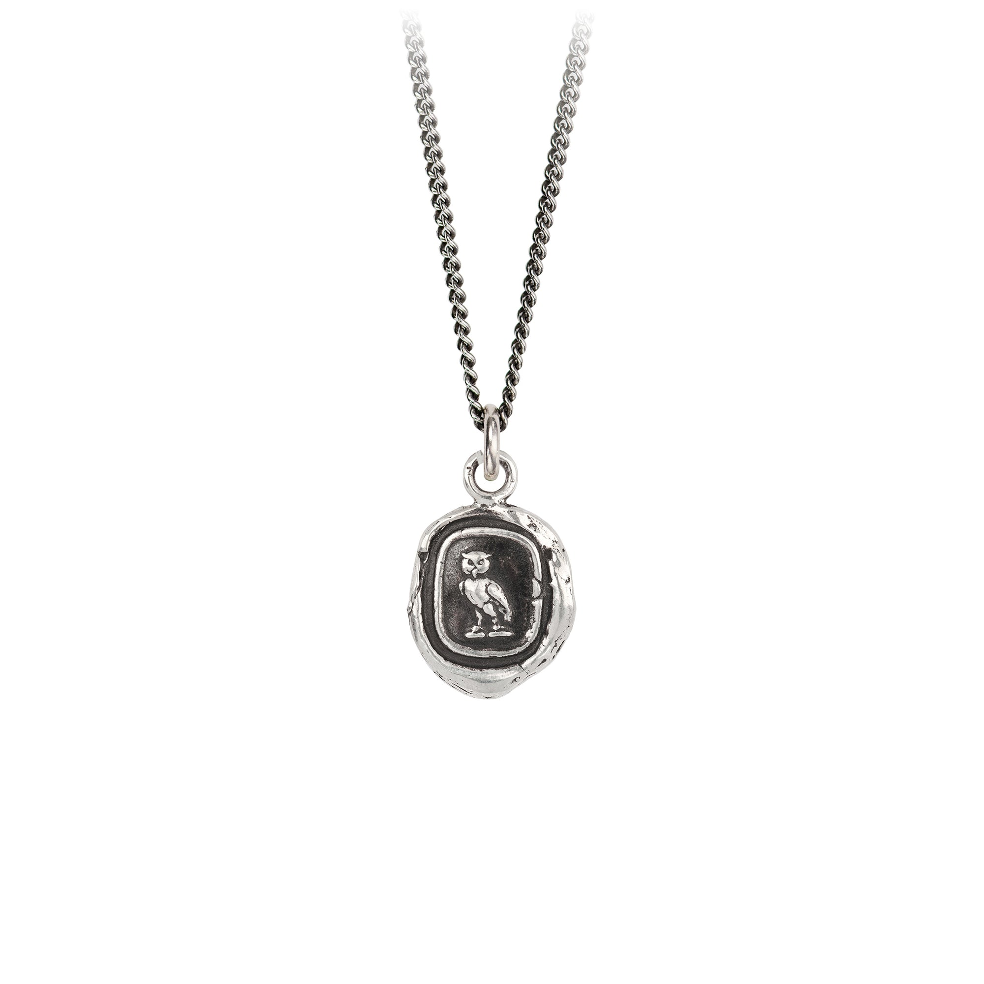 Pyrrha Watch Over Me Talisman Necklace Fine Curb Chain Silver