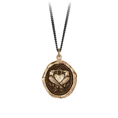 Pyrrha We Two Are One Engravable Talisman Necklace Fine Curb Chain Bronze