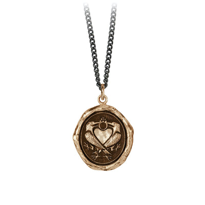 Pyrrha We Two Are One Engravable Talisman Necklace Medium Curb Chain Bronze