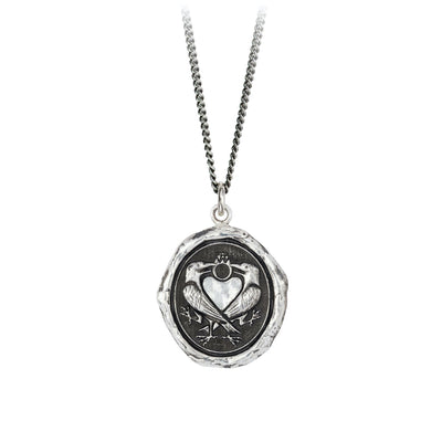 Pyrrha We Two Are One Engravable Talisman Necklace Fine Curb Chain Silver