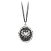 Pyrrha We Two Are One Engravable Talisman Necklace Medium Curb Chain Silver