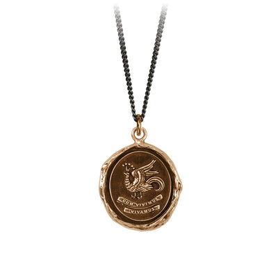 Pyrrha While We Live Let Us Live Talisman Necklace Fine  Curb Chain Bronze