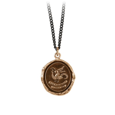 Pyrrha While We Live Let Us Live Talisman Necklace Medium Curb Chain Bronze