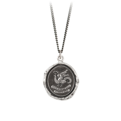 Pyrrha While We Live Let Us Live Talisman Necklace Fine  Curb Chain Silver